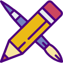 Icon of pencil and paintbrush for styling