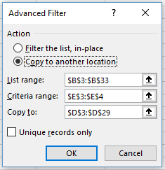 Screenshot of Excel Advanced Filter dialogue box