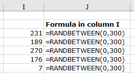 Screenshot of Excel worksheet with RANDBETWEEN function