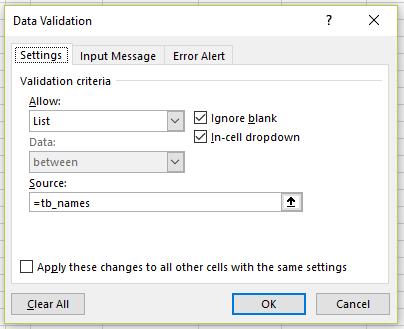 Data Validation dialog in Excel