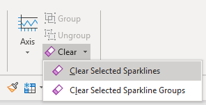 Clear the selected sparklines in Excel