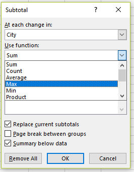 Summarize options in the subtotal outline function in Excel