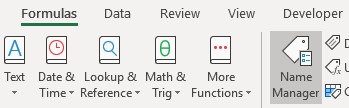 Name Manager icon in Excel