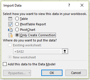 Power Query import data dialog box