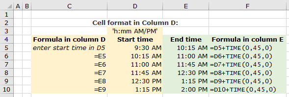 screenshot showing Excel's TIME function to add time