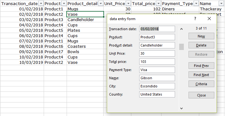 Screenshot showing data table and data entry form in Excel