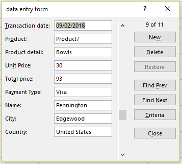 Another view of Excel's data entry form