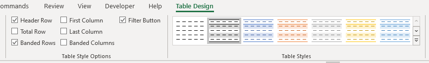 Excel's Table Design tab in the ribbon