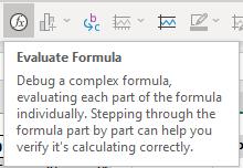 Description of Excel's Evaluate Formula function