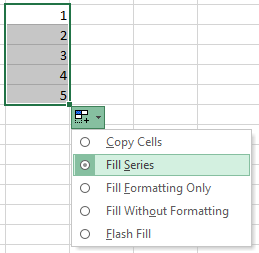 Showing how to click and drag the right-hand bottom corner of a cell in Excel to create a series down the column