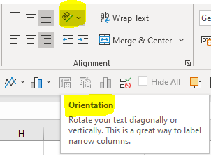 Rotate text icon in Excel's ribbon on the Home tab