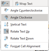 Rotate text options in Excel