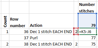 Running total formula to keep track of stitch count in a knitting pattern