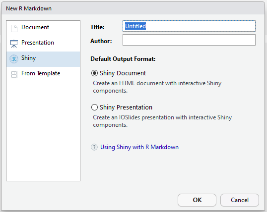 New R Markdown Shiny template in RStudio
