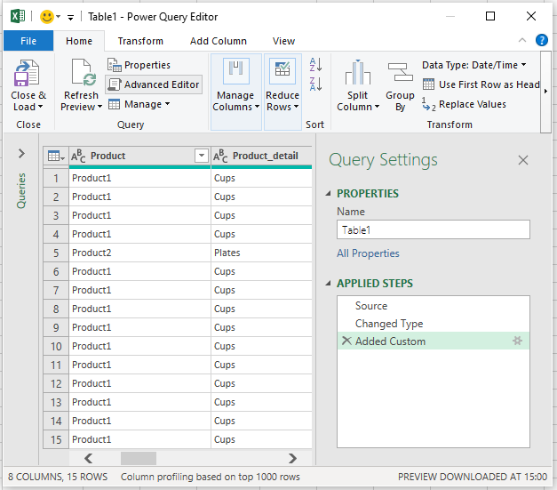 Excel's Power Query Editor window.