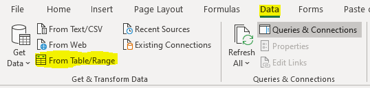 Power Query section of Excel's ribbon on the data tab