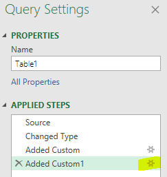 Power query settings applied steps