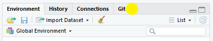 RStudio window showing the Git tab has been added