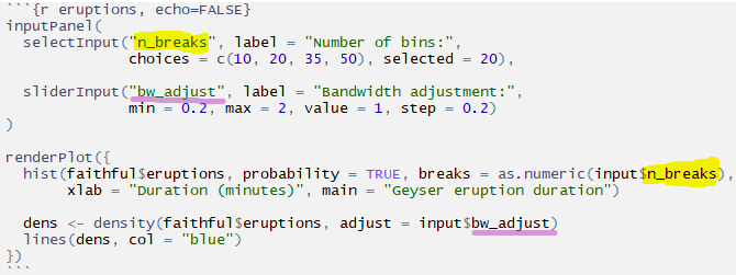 Example of selectInput in the default RStudio R Markdown Shiny template