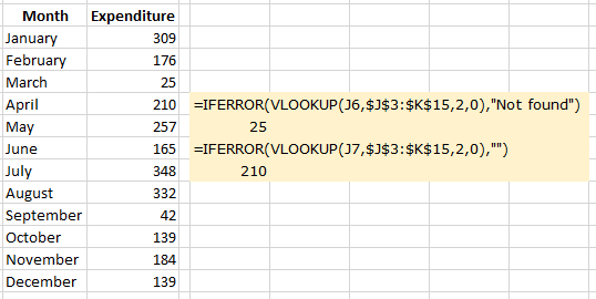 Showing Excel IFFERROR and VLOOKUP with custom text returned