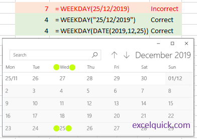 Showing WEEKDAY function error in Excel