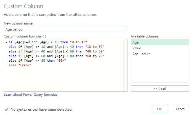 Power Query if and then else statements