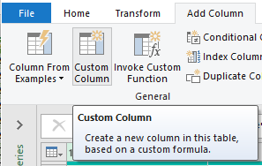 Add a custom column in Power Query