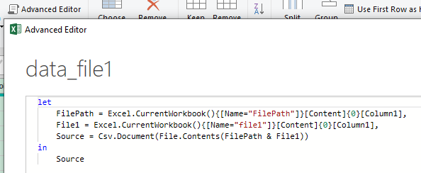 Power Query code in the Advanced Editor window