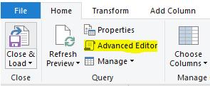 Power Query Advanced Editor button
