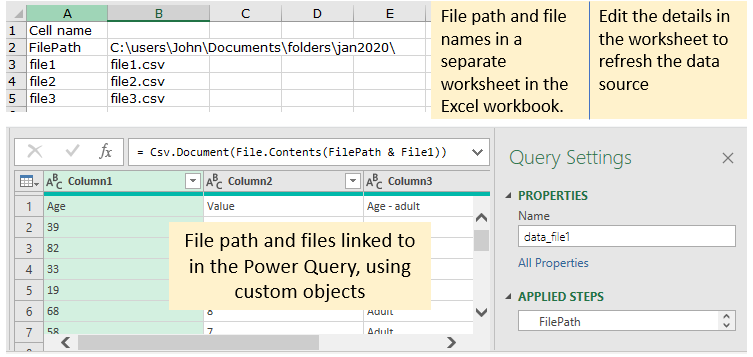 Illustrating file path and file name details in an Excel worksheet for linking to in a Power Query