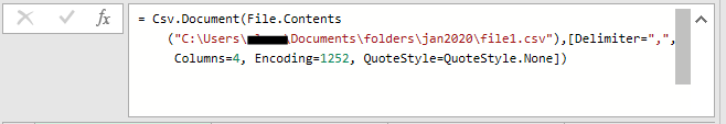 Manually editing a Power Query step in the step editor box